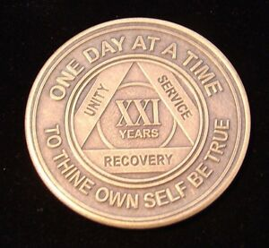 Alcoholics Anonymous AA 21 Year Bronze Medallion Token Coin Chip Sobriety Sober