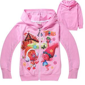 New girl Trolls zipped hooded jacket jumper cotton size3.4.5.6.7.8 yrs