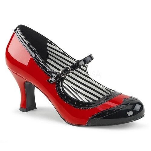 Pleaser JENNA-06 Casual Red-Black Patent Kitten Heel Spectator Mary Jane Pump