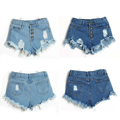 1PC Women Vintage High Waist Jeans Hole Short Jeans Denim Shorts Pop