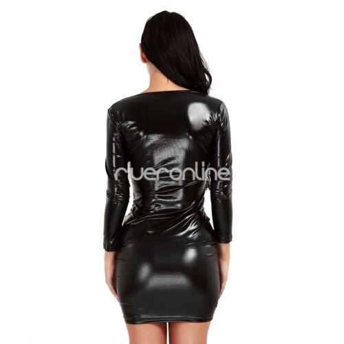 Womens Shiny Leather Bodycon Dress Wetlook Backless Mini Dress Party Clubwear