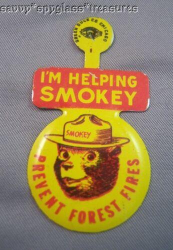 1960/'s Tin Litho I/'m Helping Smokey The Bear Badge