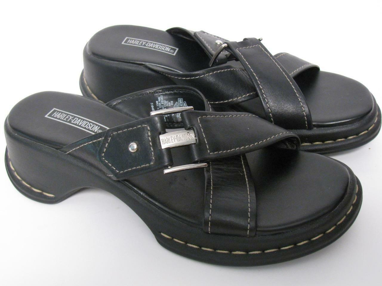 HARLEY DAVIDSON BLACK BLACK BLACK LEATHER SILVER HARDWARE SLIDES MULES SANDALS SHOES~6 e92701