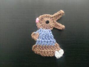 Crochet-Bunny-rabbit-applique-handmade-card-making-scrapbook-sewing-Peter-easter
