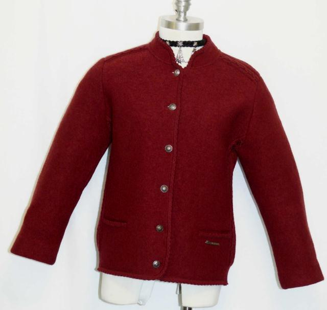 Boiled Wool Sweater Jacket Women Girls German Winter Short Sleeves