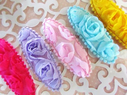 "25 Rose Fabric Floral 2.25/"" Applique//trim//craft//Hair Bow Supply H563-Clip Cover"