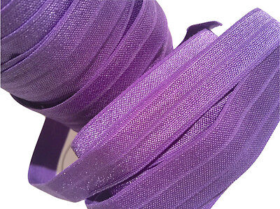 "3 yards purple 5//8/"" glitter elastic FOE DIY baby headbands /& hair ties"