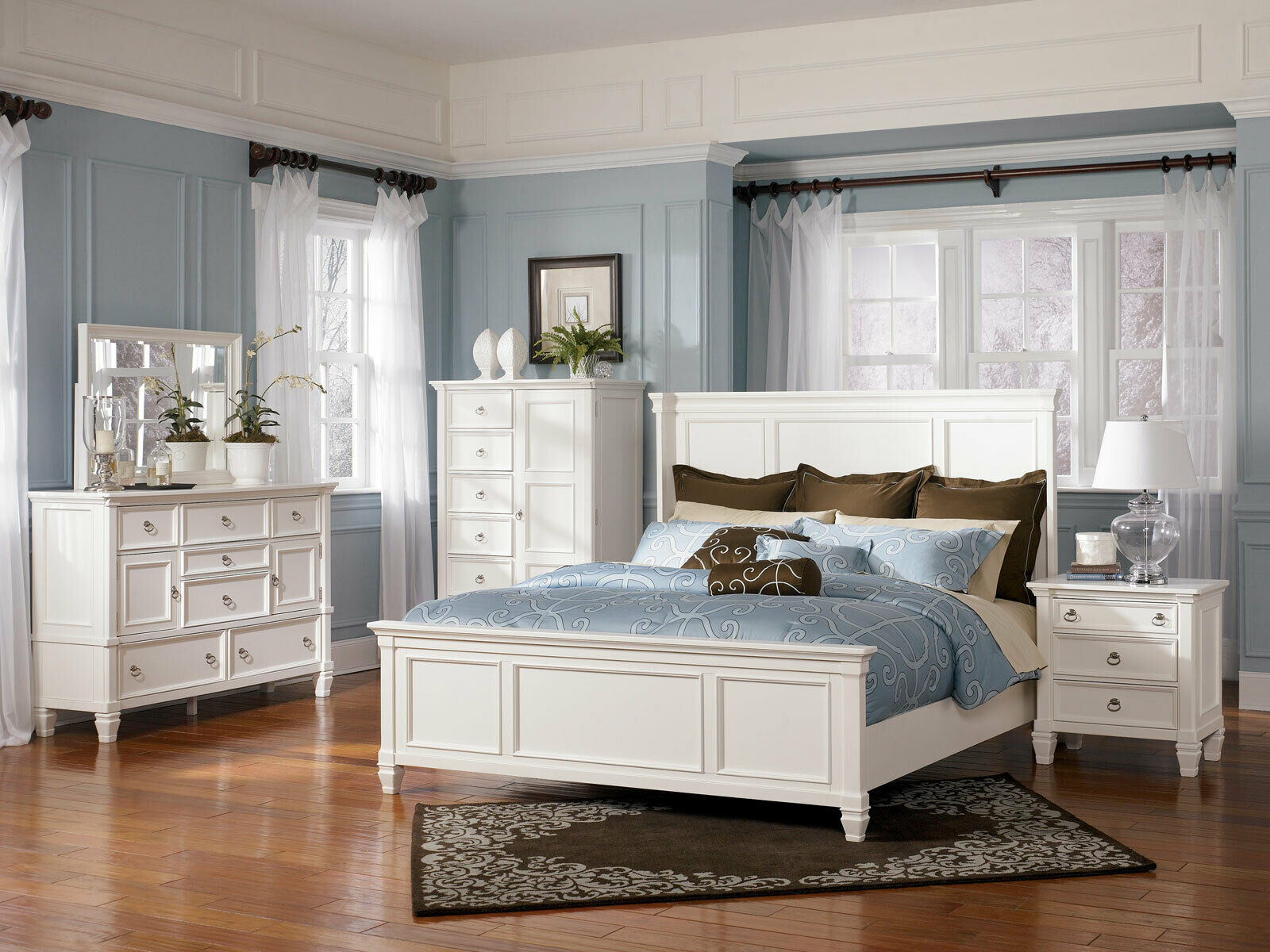 Traditional White 5 Piece Bedroom King Bed Dresser Mirror Nightstands Set Ia2g For Sale Online