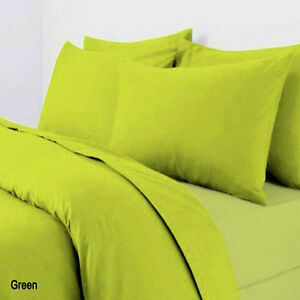 Plain Dyed Duvet Quilt Cover With Pillowcases Bedding Set Lime Green