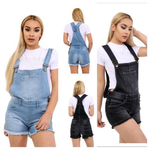 Womens Ladies Denim Summer Pinafore Up Knee Length Strap Dungaree Dress