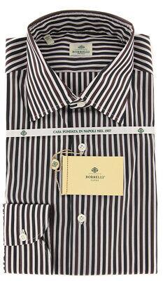 $ 450 Luigi Borrelli Marrone A Righe Cotone Camicia - Extra Slim - (tn) Attivando La Circolazione Sanguigna E Rafforzando I Tendini E Le Ossa
