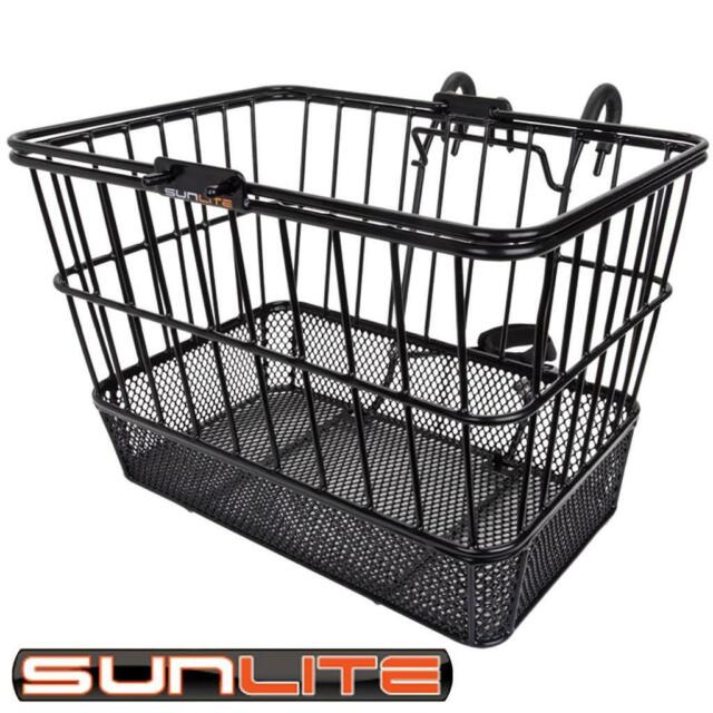 NEW SunLite Front Wire Mesh-Bottom Lift Off Bicycle Basket Black with Bracket