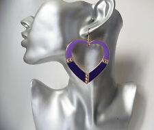 "LARGE purple & gold tone heart shaped big hoop drop / dangly earrings 2.5"" / 7cm"