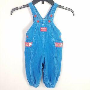 04a5fbfd8 OshKosh B'Gosh Corduroy Overalls Vintage Size 12 Months Blue Red ...