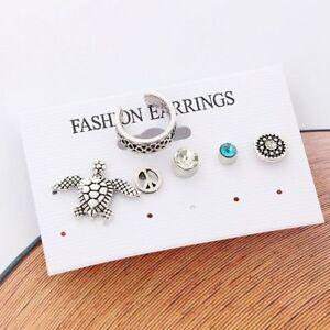 Gift-Stud-Silver-Turtle-Geometric-Earrings-6Pcs-set