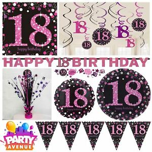 Image is loading Pink-Sparkling-Celebration-18th-Birthday-Party-Tableware- Decorations-  sc 1 st  eBay & Pink Sparkling Celebration 18th Birthday Party Tableware Decorations ...