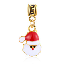 18K gilded Christmas LAMPWORK fit European Charm Bracelet pendant Chain #D317