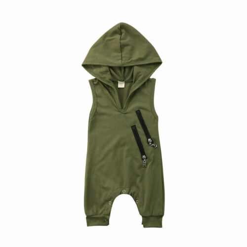 UK Newborn Baby Boy Sleeveless Hooded Camo Romper Jumpsuit Outfits Clothes 0-24M