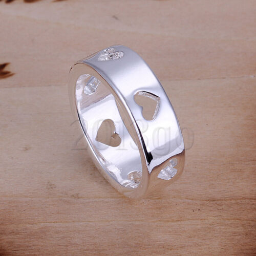 Exquisite Hollow Out Heart to Heart Silver Plated Ring #8 7.5 g YG