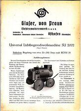 Prospekt Glaser von Praun Elektromotoren Osthofen Lichtbogen Schweißmaschine !