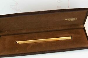 Aurora-Thesi-Ultra-Flat-Ballpoint-Pen-Sterling-Silver-Gold-Plated-Excellent