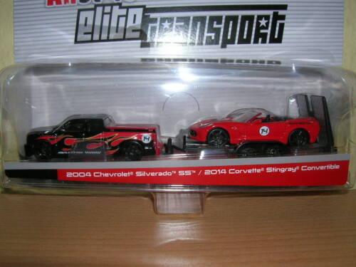 Maisto 2004 Chevrolet Silverado SS + 2014 Corvette Stingray1:64 auf Anhänger