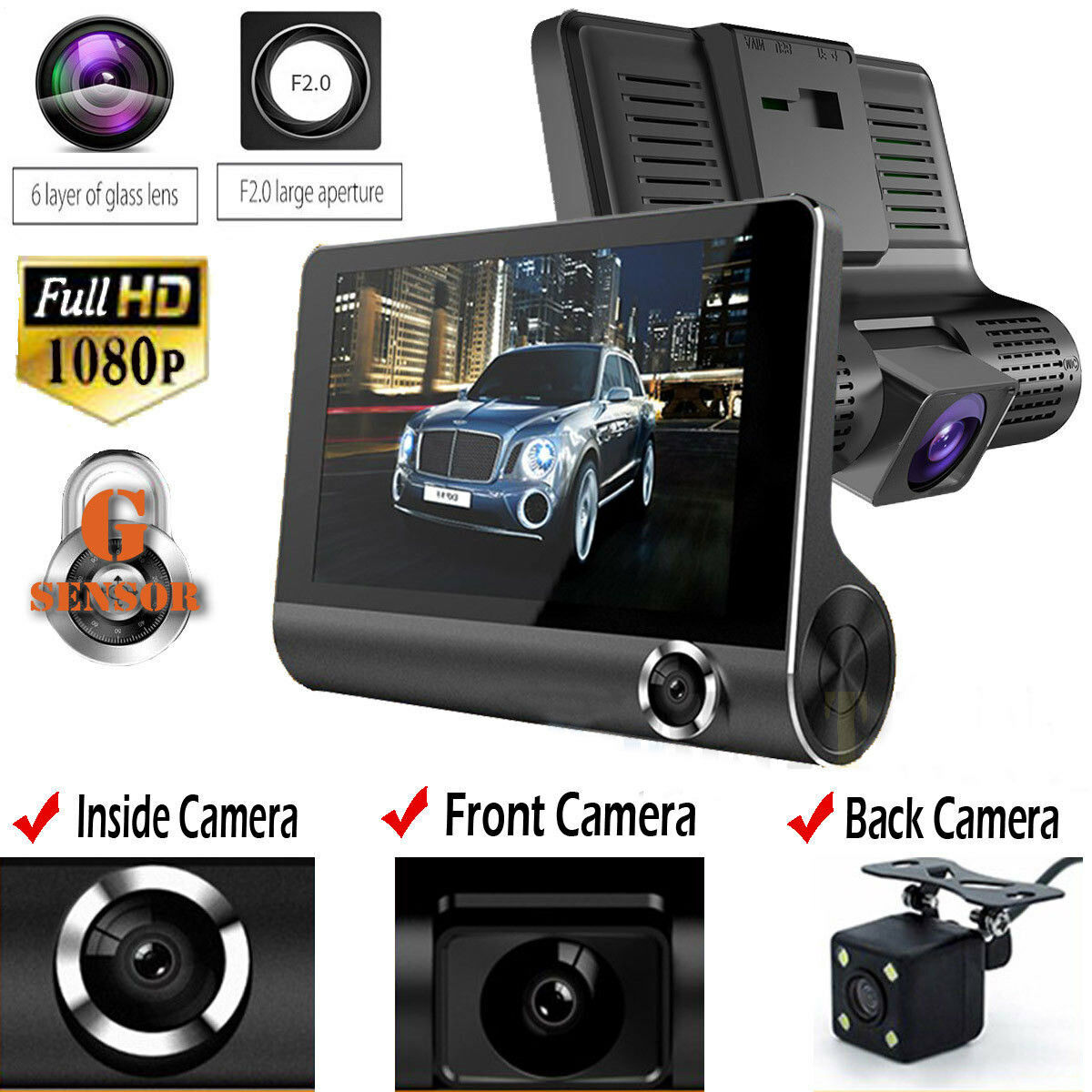 "4/"" HD Dual Lens Rearview Car DVR Camera Video 1080P Recorder Dash Cam G-Sensor"