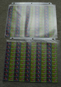 Lot of 2 Vintage Sheets of 100 Charity Stamps 1955 TB Tuberculosis Christmas