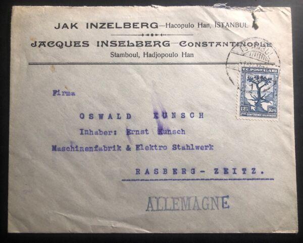 1931 Istanbul Turquie Commercial Couverture à Rasberg Allemagne Judaica Pour Aider à DigéRer Les Aliments Gras