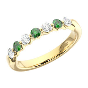0-75ct-Single-Claw-Emerald-amp-Round-Diamond-Half-Eternity-Ring-18K-Yellow-Gold