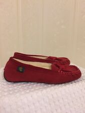 Ralph Lauren Shoes Red Suede Mabel Shearling Slippers Shoes Women's Size 5 B