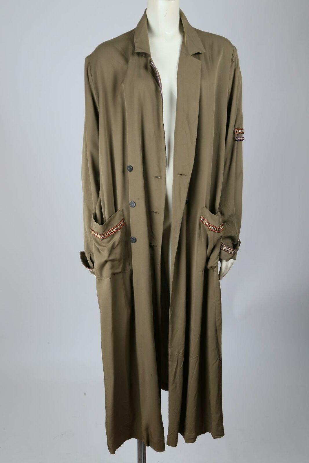 MANGO Olive Green Oversized Wrap Long Trench Coat… - image 2