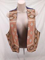 Vintage Womens Chaleco Western Vest Aztec Poly Cowboy Medium M