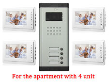 4 Units Apartment Intercom Entry System Wired 7'' Monitor Audio Video Door Phone