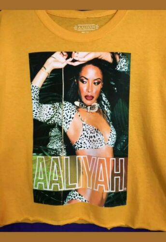 Top con Aaliyah Tshirt licenza Giallo Nwot Ufficiale 'm' Crop WHY9IED2