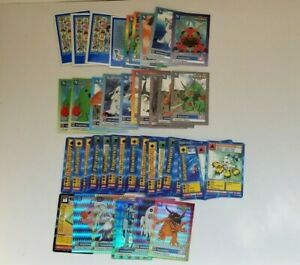 Digimon-Trading-Card-Lot-73-Cards-Holos-Champion-Gold-Text-Bandai-1999