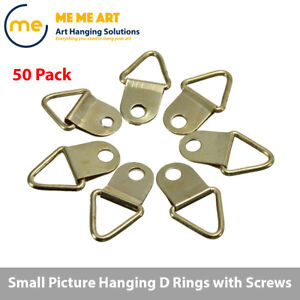 50 Pcs Screws Hanging Triangle D Ring Picture Frame Hangers