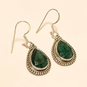 Natural-African-Emerald-Earrings-925-Sterling-Silver-Handmade-Fine-Jewelry-Gifts