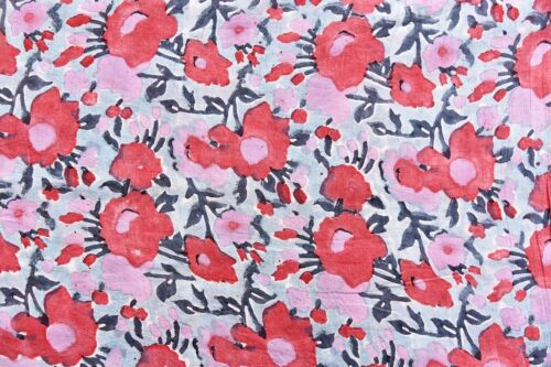 2.5 Yard Indian Hand Block Print Fabric Sanganeri Craft Sewing Fabric Flower Art