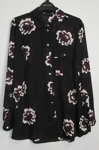 New-Dorothy-Perkins-Floral-Print-Blouse-Size-8-20-Black-Occasion-Work
