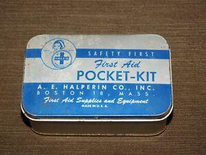 VINTAGE-4-034-X-2-1-2-034-HALCO-FIRST-AID-POCKET-KIT-TIN-CAN-EMPTY