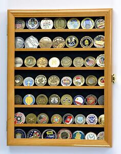 Details about Military Challenge Coin Display Case Cabinet Wall Rack 98% UV  Lockable