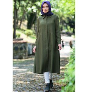 Details about Abaci Turkish Islamic Women's Pardesu Modest Overcoat Topcoat Jacket K9307