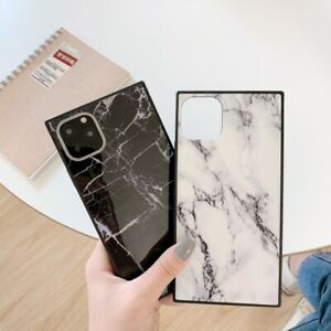 For iPhone 12 Pro Max XR X 7 8 Plus Marble Pattern Soft Shockproof Square Case