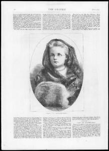 1875 Antique Print - FINE ART Grandmamma Child Girl Muff Hood Glasses   (G117)