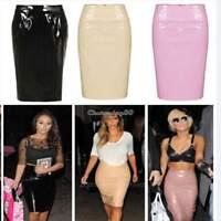 Ladies Celeb Shiny PVC Wetlook Womens Bodycon Vinyl Pencil Midi Party Skirt C1MY