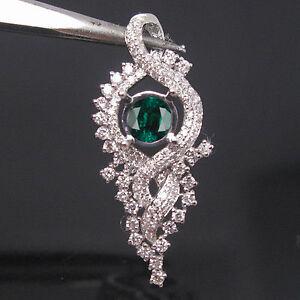 Initiative 14kt Or Blanc 1.95 Ct Naturel Vert émeraude European Gemological Laboratoire Certifié Diamant Pendentif-afficher Le Titre D'origine