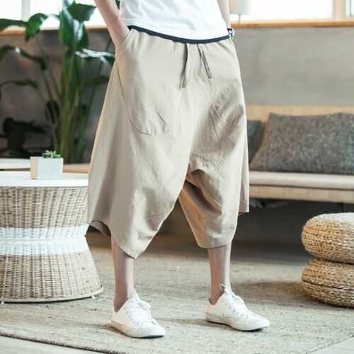 Men 3//4 Length Cotton Casual Shorts Pants Trousers Loose Oversize Summer Fashion