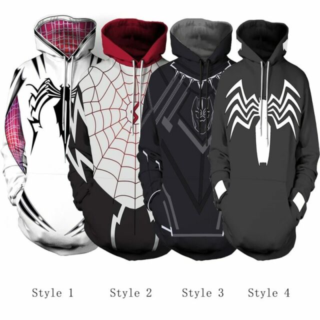 Cosplay Spider-Gwen Stacy Spiderman Hoodie Zipper Hooded Sweatshirt Coat Jacket
