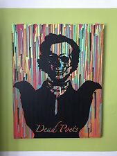 Edgar Allan Poe Skull Pop Art Painting In Acrylic 22x28 Stretched Canvas